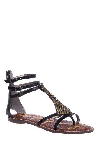 Ginger Embellished T-Strap Flat Ankle Strap Thong Sandal