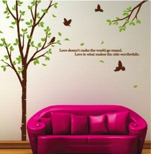 WallStickersUSA Tree with Flying Birds Wall Sticker, Brown, Green, X-Large (Brown Decal Wall Stickers compare prices)