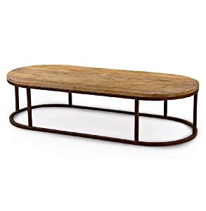 Tilton Rustic Lodge Reclaimed Wood Iron Oval Coffee Table Kitchen Dining