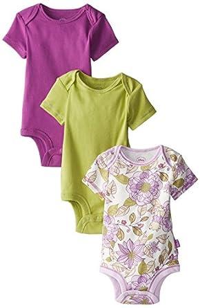Disney Cuddly Bodysuit - Fashion 3 Pack: Winnie The Pooh Floral , White/Purple/Green, 0-3 Months