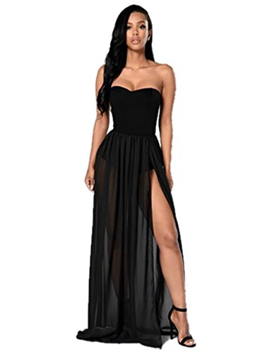 Sophia17 Women Strapless Tube Top Backless Chiffon Split Cocktail Party Long Dress