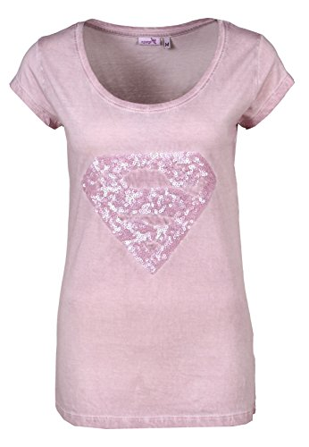 Sublevel T-Shirt Supergirl | T-Shirt basic da donna con logo di Superman in paillettes | Stampa logo rosa M