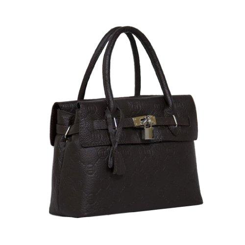 Hs 8025 Mr Rafa Made In Italy Dark Brown Structured Satchel/Shoulder Bag