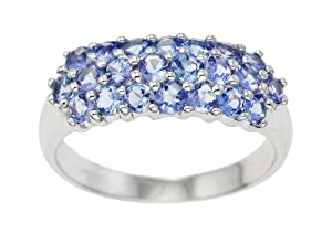 Bague Femme - Or blanc (9 cts) 2.33 Gr - Tanzanite - T 54