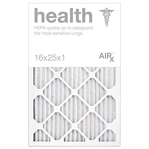 Optimal for Health Protection - AiRx HEALTH 16x25x1 Air Filters - Pleated 16x25x1 MERV 13 Air Filters, AC Filter, Furnace Filter, HVAC Filter - Energy Efficient - Box of 6 (Hvac Furnace compare prices)