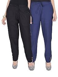 Kalrav Solid Black and Indigo Blue Cotton Pant Combo