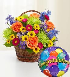 Flowers by 1800Flowers - Beautiful Basket to Say Congratulations - Medium