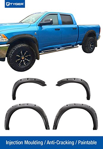 Tyger Auto TG-FF8D4148 For 09-10 Ram 1500 (Exclude R/T), 11-16 Ram 1500, Matte Black Pocket Bolt-Riveted Style Fender Flare Set, 4 Piece (Dodge Ram Fender Flares 2010 compare prices)
