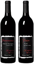 Washington Cabernet & Oregon Syrah Bundle, Mixed Pack, 2 x 750 mL, by Naked Winery