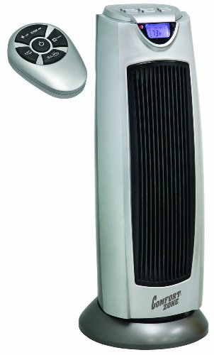 B002R62OT0 Comfort Zone® Digital Ceramic Oscillating Electric Tower Heater/Fan with Remote Control CZ499R