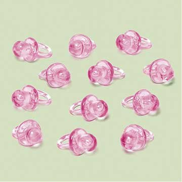 Pink Pacifier Favor Charms 24ct