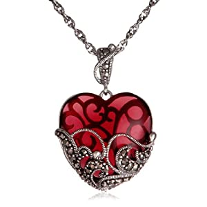 Sterling Silver Marcasite and Garnet Colored Glass Heart Pendant, 18 in