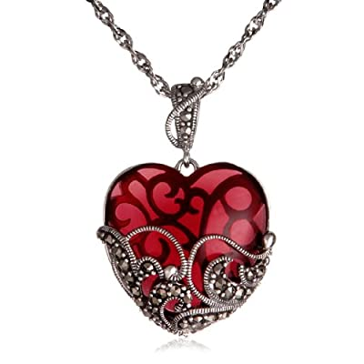 "Sterling Silver Marcasite and Garnet Colored Glass Heart Pendant, 18"": Jewelry"