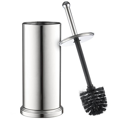 Home-it toilet brush set Chrome toilet brush for tall toilet bowl and toilet brush holder with Lid great toilet bowl cleaner (Stainless Steel Toilet Brush compare prices)