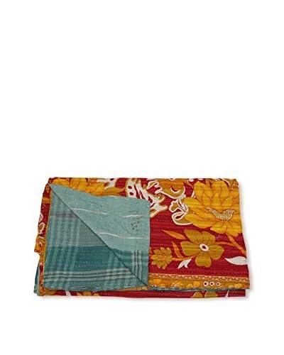 Kantha Bengali Printed Quilted Throw, Multi