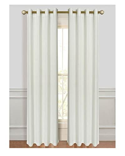 Cay Trading Set of 2 Dainty Home Antique Silk Window Curtains, White