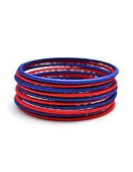 Laron Handicrafts Blue And Red Silk Threaded Bangle Set For Women