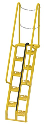 Vestil ATS-7-68 Alternating Tread Stair with 12 Steps, Steel, 126-5/8