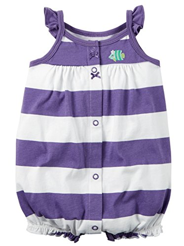 Carter's Baby Girls 1-piece Appliqué Snap-Up Cotton Romper (6 Months, Purple Stripe)