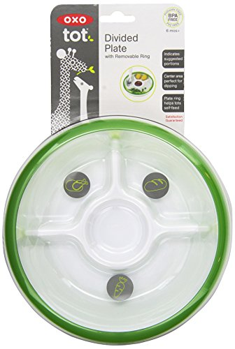OXO Tot Divided Plate with Removable Training Ring and Dipping Center-Green