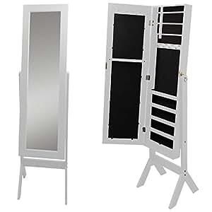 schmuckschrank mit spiegel 159x37x40cm holz spiegelschrank. Black Bedroom Furniture Sets. Home Design Ideas