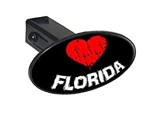 "Florida Love Heart - 1 1/4 inch (1.25"") Tow Trailer Hitch Cover Plug Insert"