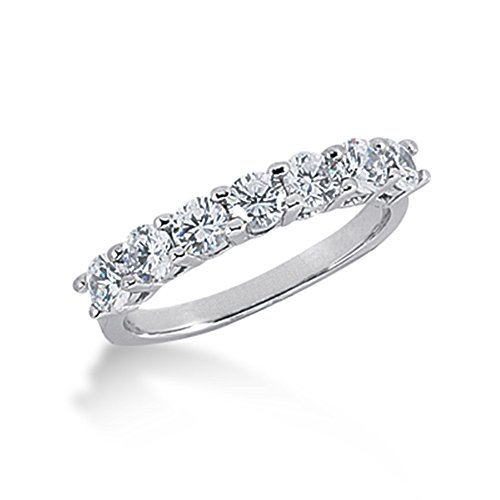 105-Ct-Diamond-Wedding-Band-Ring-Round-Prong-14k-White-Gold