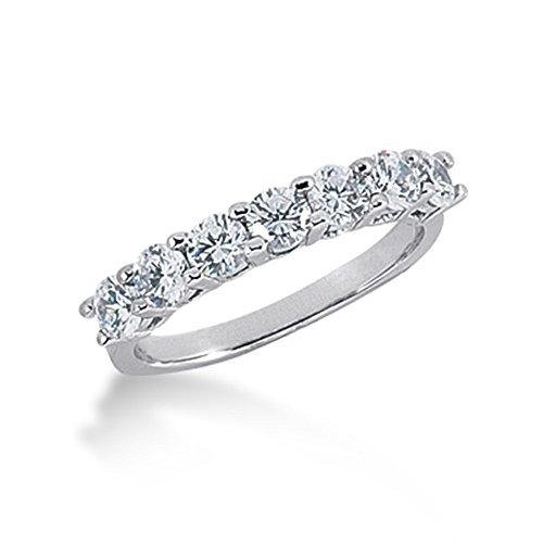 105-Ct-Diamond-Wedding-Band-Ring-Round-Prong-14k-White-Gold