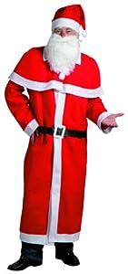 Idena 8580108 - Kostüm Weihnachtsmann 5- teilig (Mantel mit Cape,Bart,Mütze und Gürtel, aus Filz) Universalgrösse