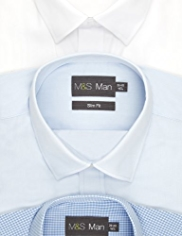 3 Pack Easy Care Slim Fit Assorted Shirts