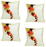 meSleep Leaves in Different Shades of Life 4 Piece Cushion Cover Set - White