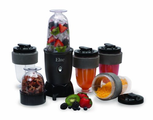 MaxiMatic EPB-1800 Elite Cuisine 300-Watt 17-Piece Personal Drink Blender, Black
