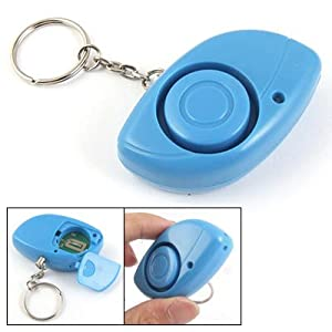 Gino LED Light Blue Plastic Case Personal Guard Alarm w Key Ring