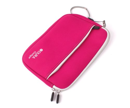 DURAGADGET Hot Pink Water Resistant Neoprene Sleeve With Front Zip Pocket For Archos Arnova 8