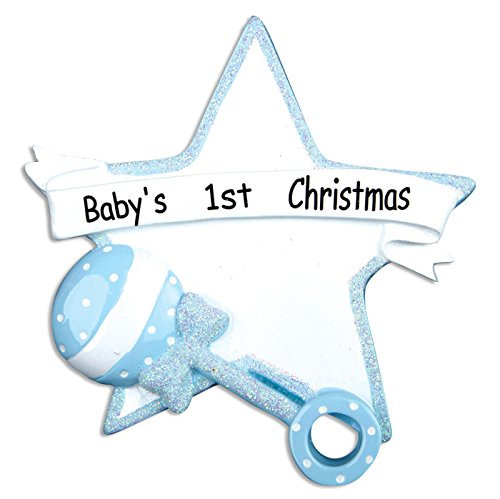 PERSONALIZED CHRISTMAS ORNAMENTS BABY'S FIRST-BABY RATTLE/STAR-BLUE