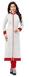 Vatsla Enterprise Women's Brasso & Net Kurta (WHITEREDNET_03_White_Free Size)