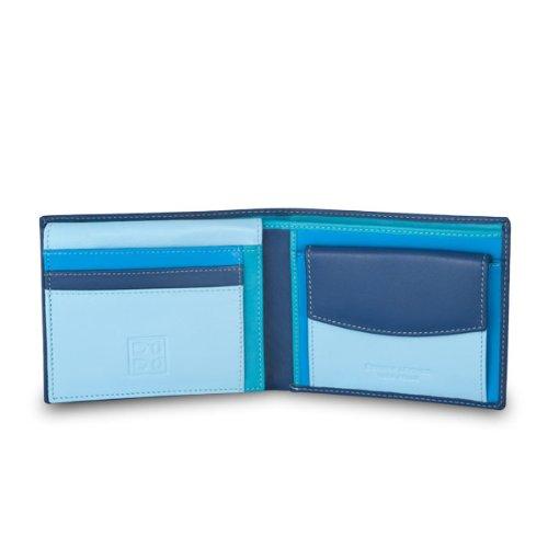 Portafoglio multicolore in pelle classico da uomo firmato DUDU Blu