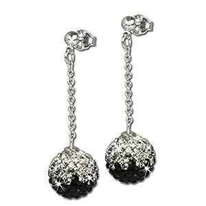 SilberDream scintillement bijoux - Boucle d'oreille en argent 925 avec cristaux Swarovski ICE blanc et noir 10mm de diamètre GSO002