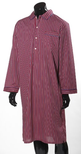 Lloyd Attree & Smith Luxurious Nightshirt - Wine and Blue Stripe
