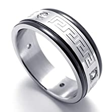 buy Mens Rings Stainless Steel Band Wedding Black Silver 8Mm Size 10 By Aienid