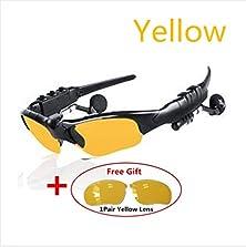buy Autumn Box Cheapest Wearable Wireless Bluetooth 4.1+Edr Sunglasses Stereo Music Answer Call Sunglasses Headset Sport Running,Travel,Bike Handsfree Earphone Mp3(Yellow With Gift)