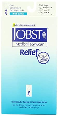 Jobst Relief Knee High 20-30mmHg Open Toe, L, Beige - 114627