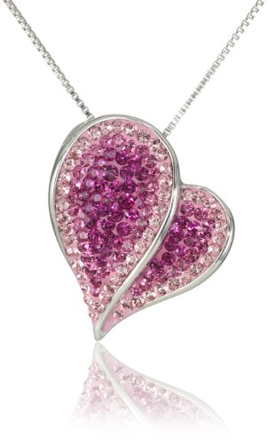 Carnevale Sterling Silver Pink Heart with Swarovski Elements Pendant Necklace, 18