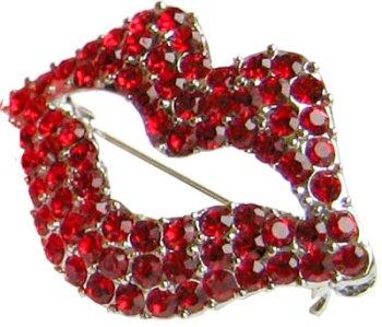 Ruby Lip (Dali) Rhinestone Pin