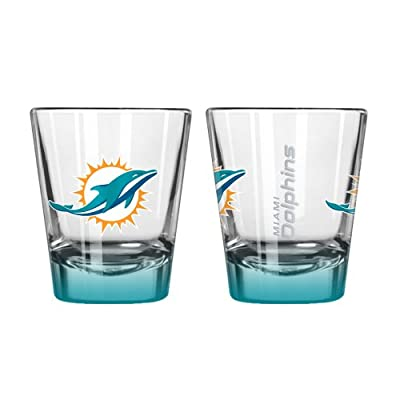 NFL Miami Dolphins Elite Shot Glass Set (2-Pack), 2-Ounce