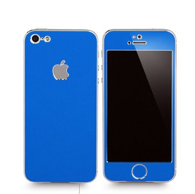 Apple Iphone 4/4S Aluminium Protective Sticker Skin Full Body Matte (Included Anti Finger Anti Glare Screen Protector Guard Film - 2 Pack) For Luxury Looks Diamond Cutting (Blue)