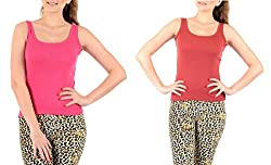 Lady Heart Women's Pink & Brick Red Cotton Regular Strap Tank Top Camisole Free Size - S / M / L . Pack Combo of 2
