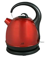 SPT Stainless Cordless Electric Kettle, Red