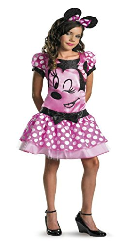 Girls Minnie Mouse Pink Kids Child Fancy Dress Party Halloween Costume