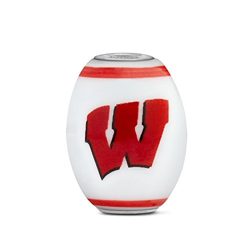 Wisconsin Badgers Large Glass Bead Fits Most European Style Charm Bracelets